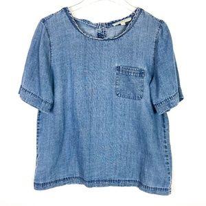 LOFT Button Back Chambray Shirt Short Sleeves
